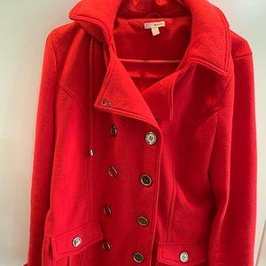 Red peacoat jacket
